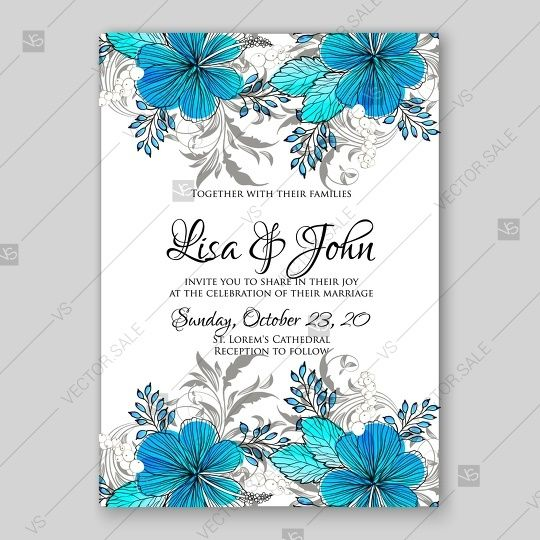 Blue Flower Invitation Template