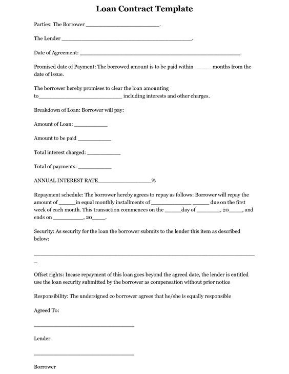 Borrowing Money Contract Template