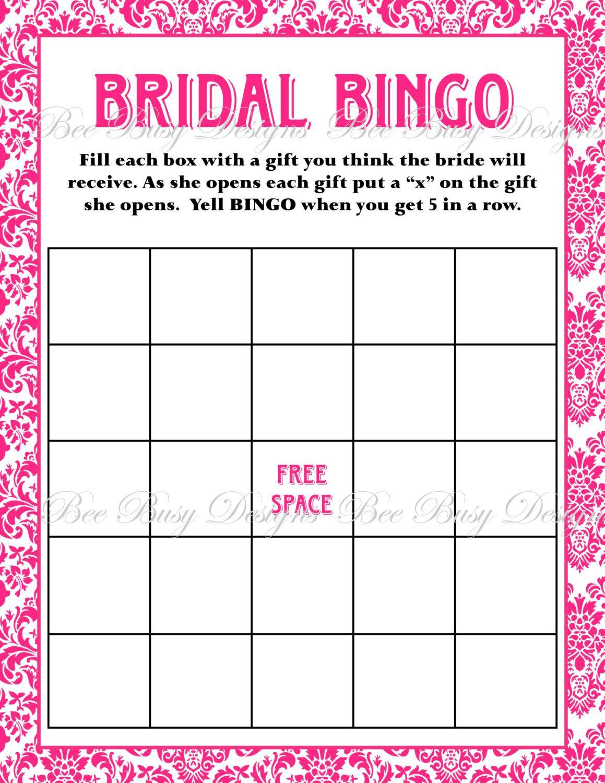 Bridal Shower Bingo Blank Template