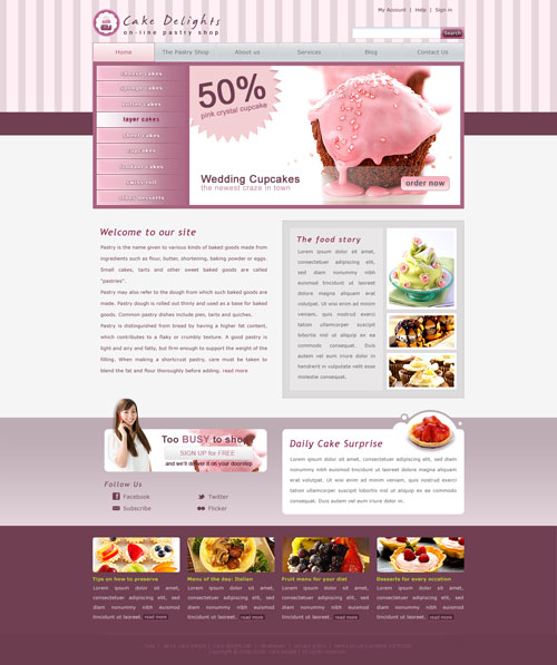 Cake Website Template Free