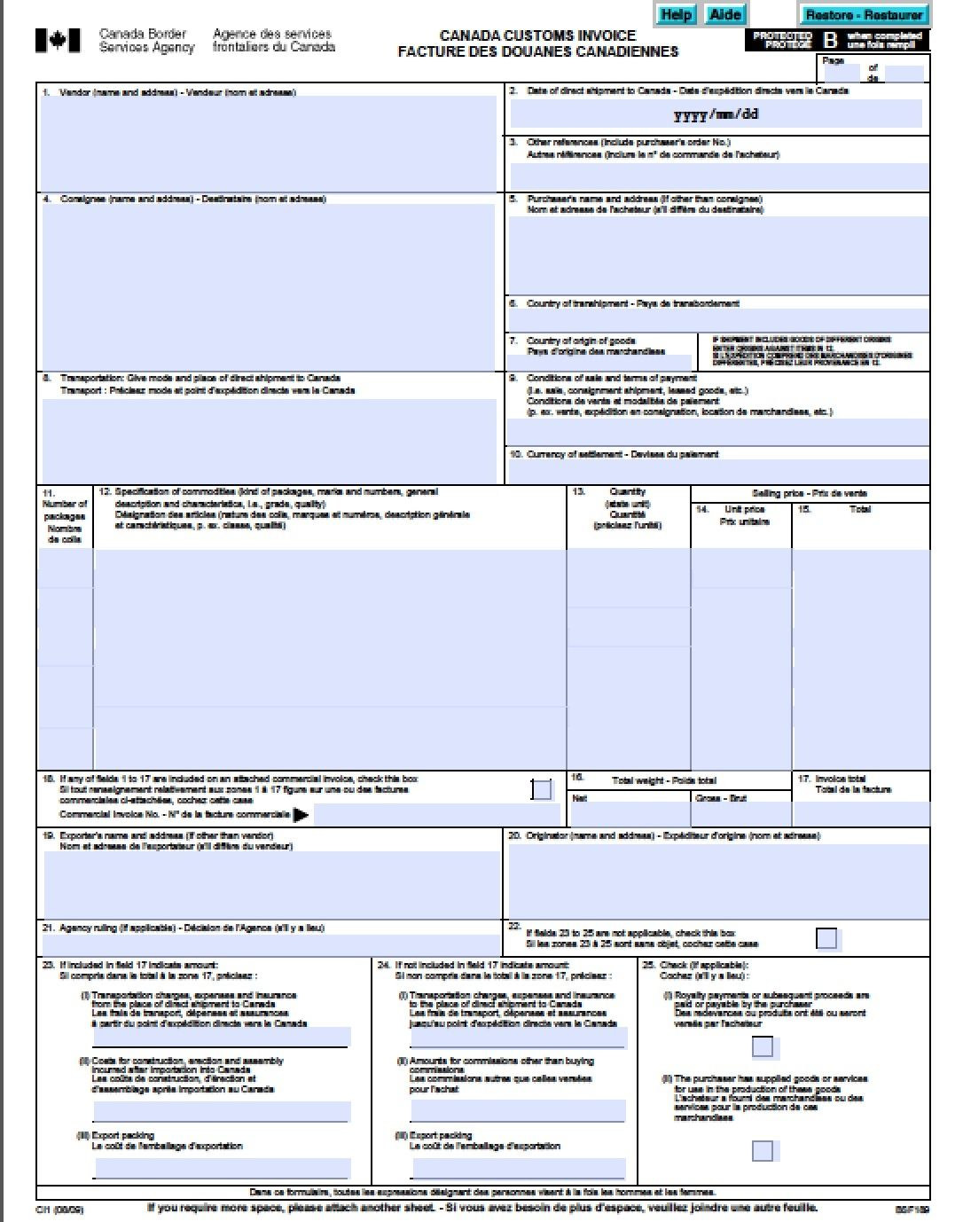 Canada Customs Invoice Template Excel