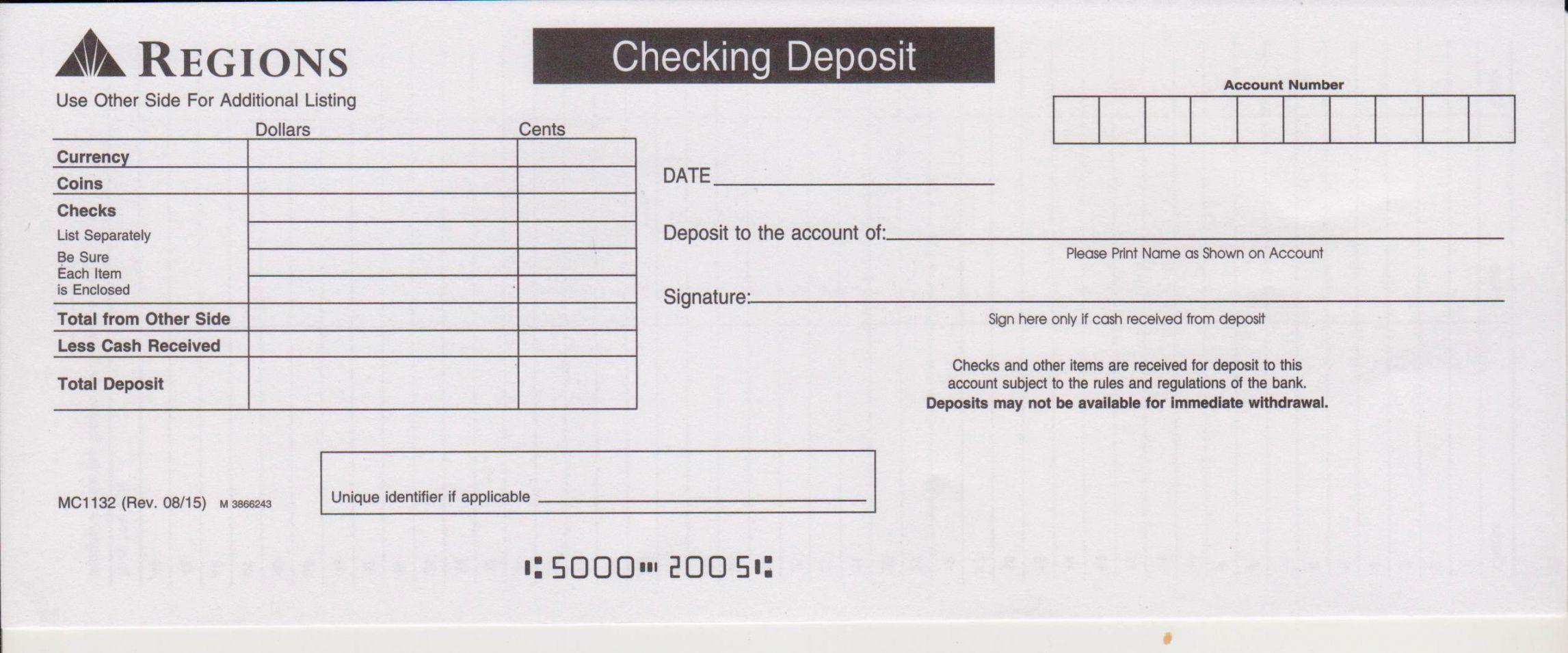 Cash Deposit Bank Deposit Slip Template