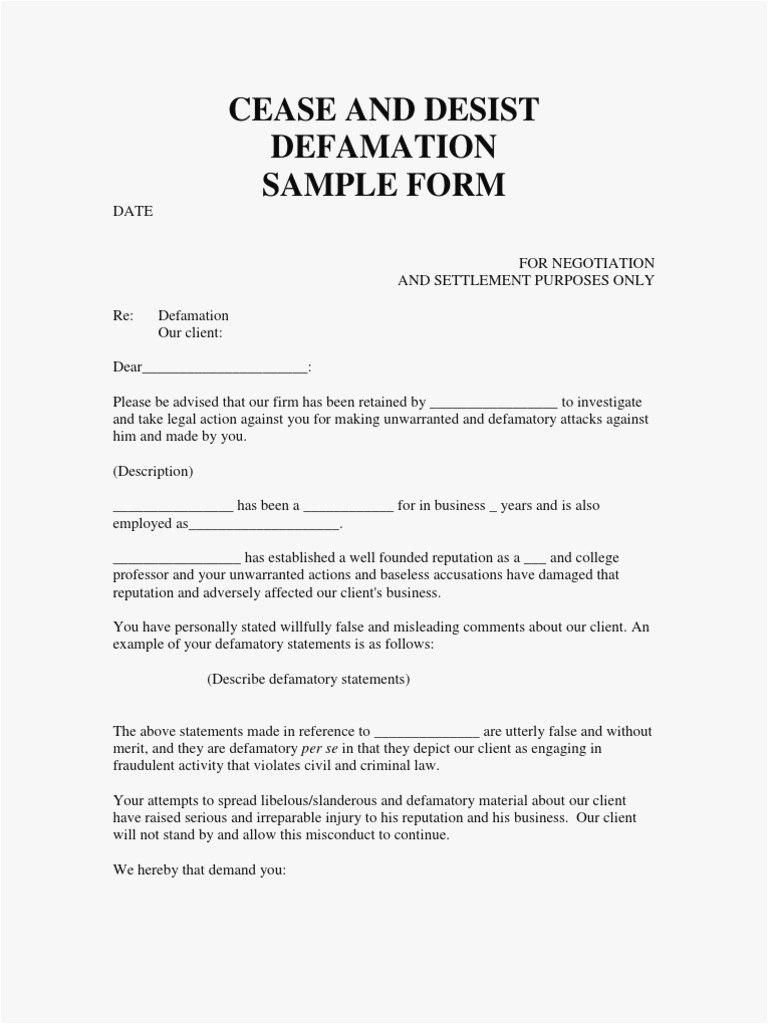 Cease And Desist Defamation Letter Template