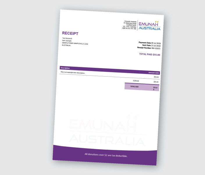 Charity Tax Receipt Template