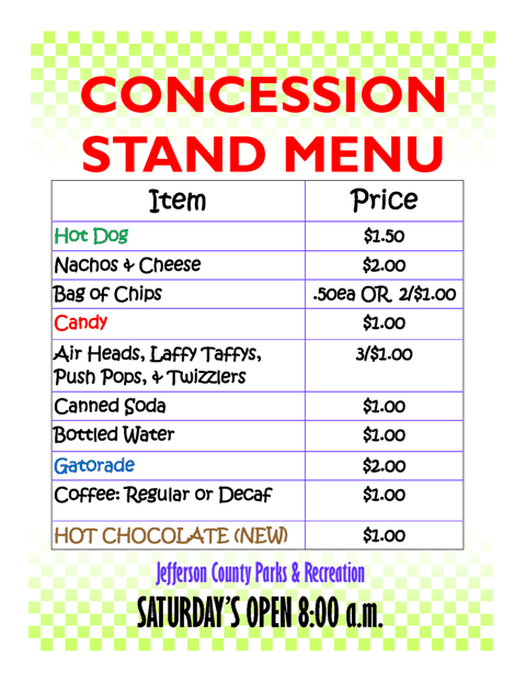 Concession Stand Menu Template Word