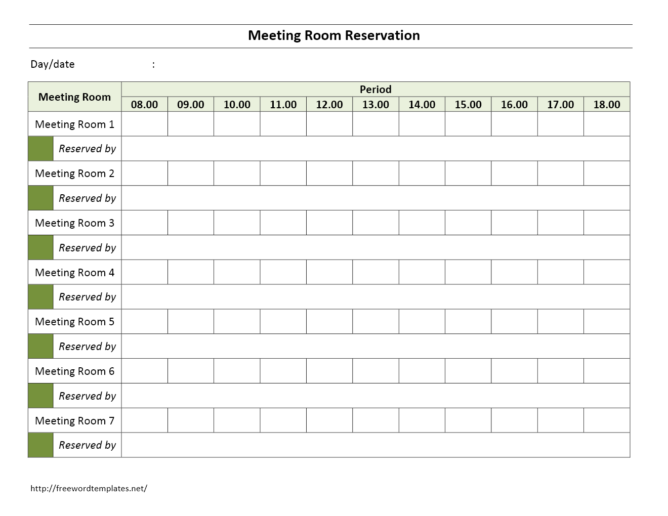 Conference Room Reservation Template