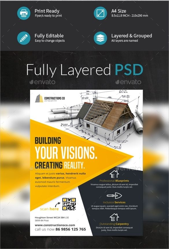 Construction Company Flyer Templates
