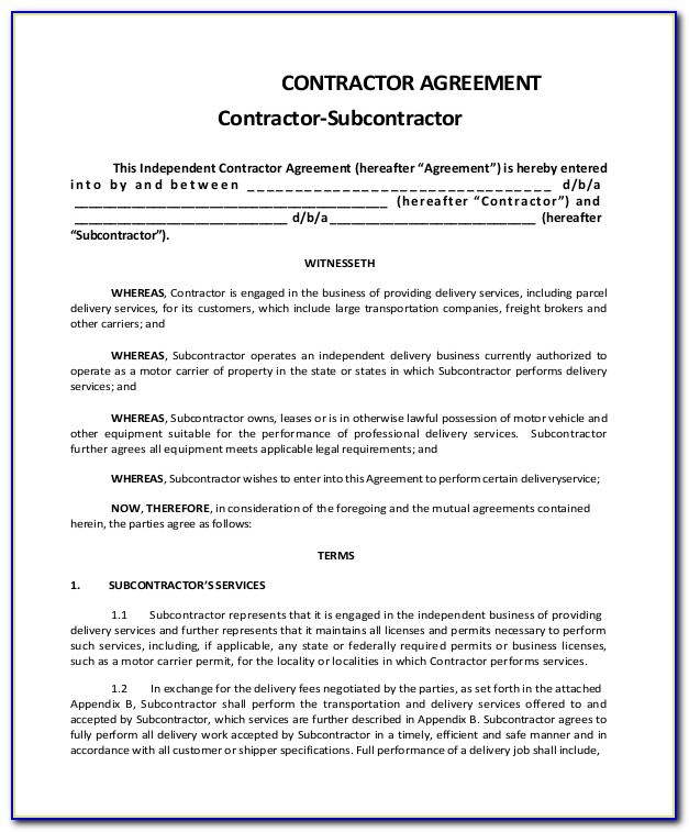 Construction Subcontractor Agreement Template Australia
