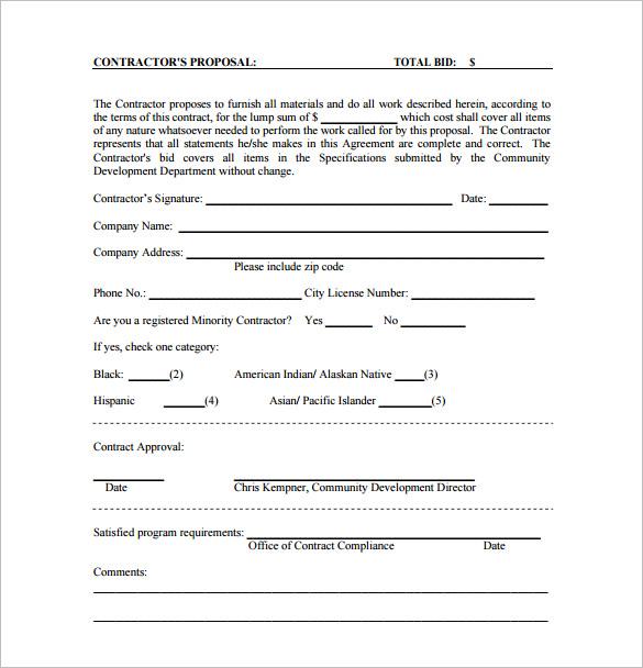 Contract Bid Template