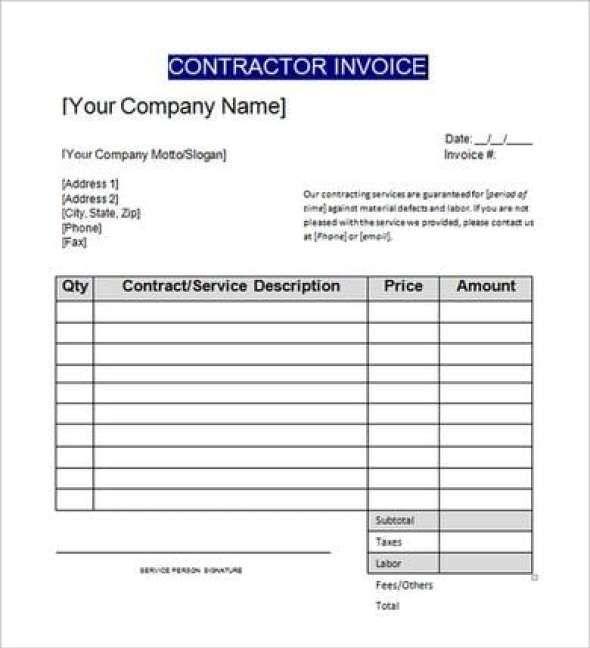 Contractors Invoice Template