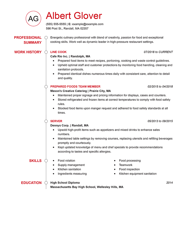 Culinary Resume Templates