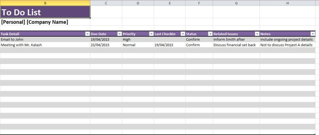 Daily Task Spreadsheet Template