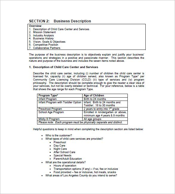 Daycare Business Plan Template Free Download Pdf