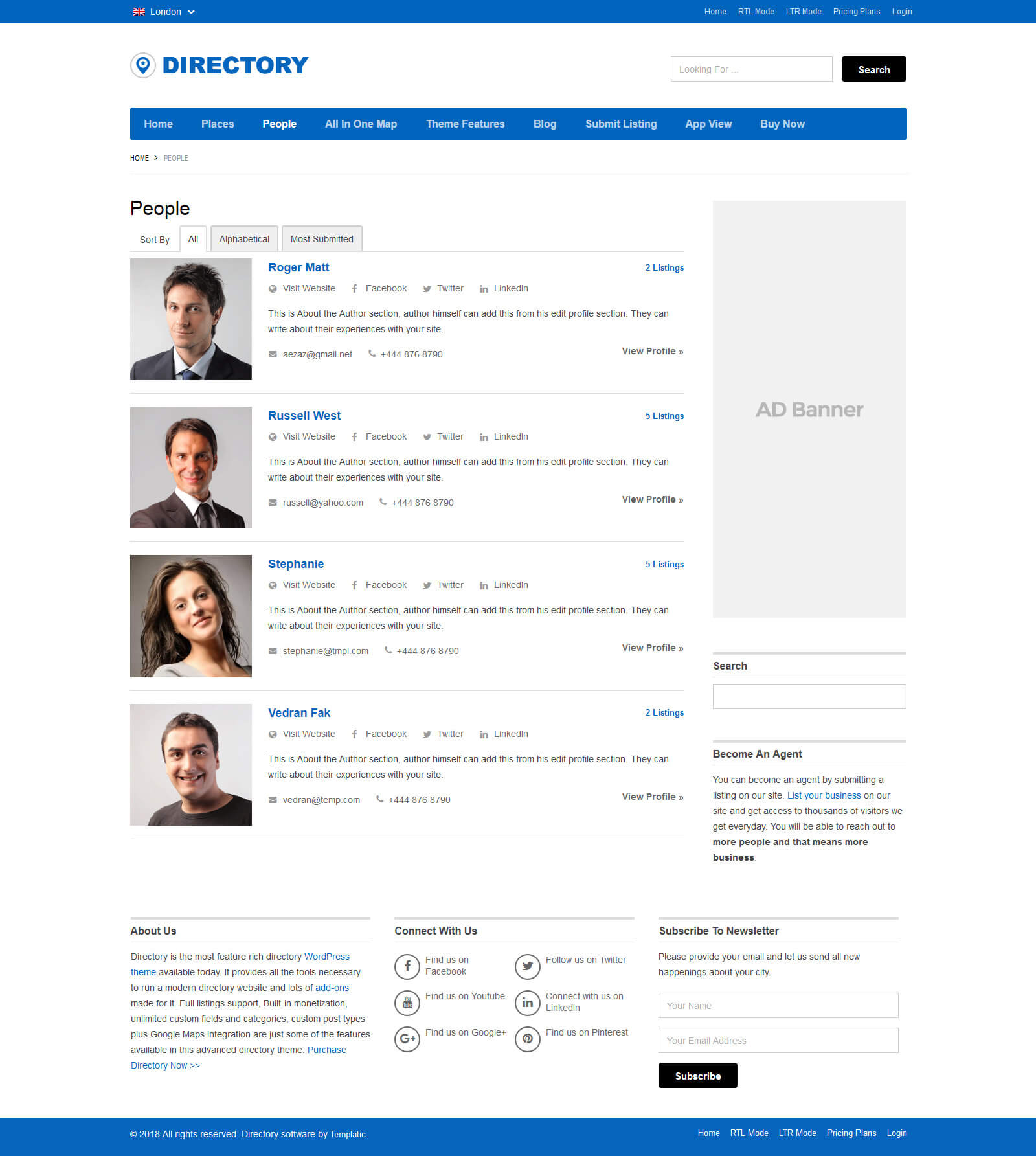 Directory Template Wordpress