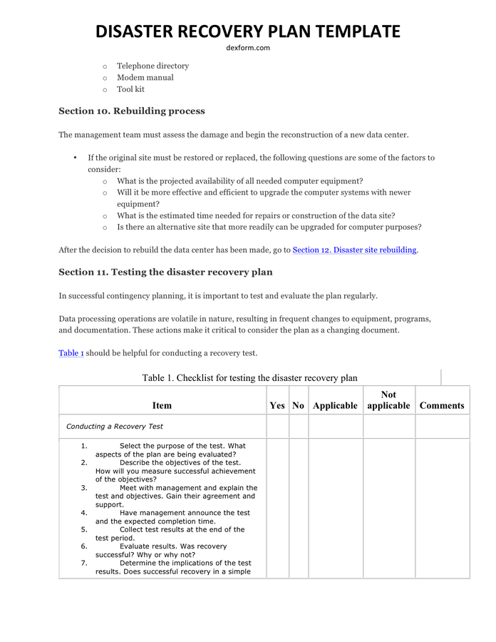 Disaster Recovery Test Plan Template