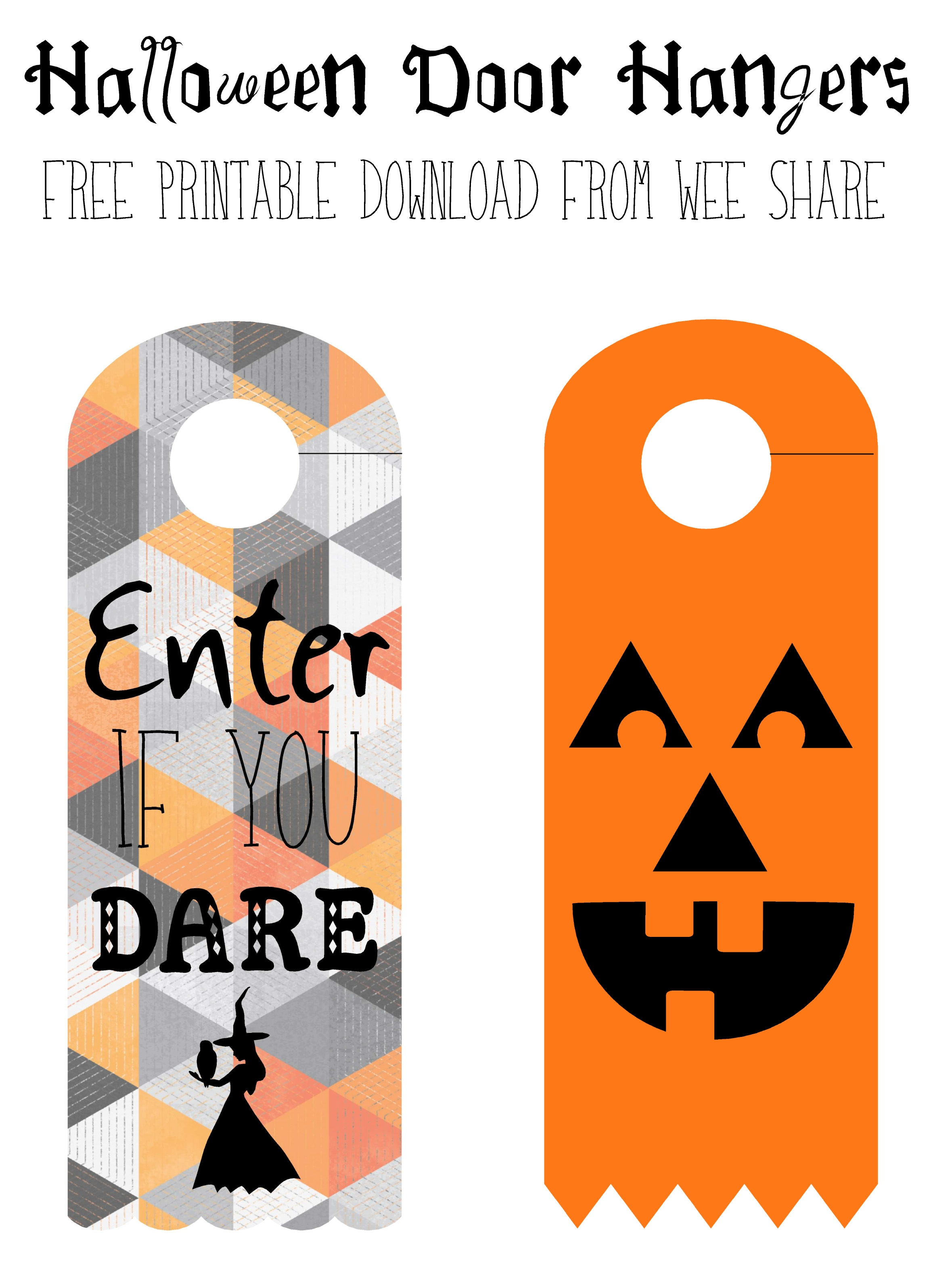 Halloween Door Knob Hanger Template Printable Halloween Door Hangers Free Download Wee Share 2359 X 3160