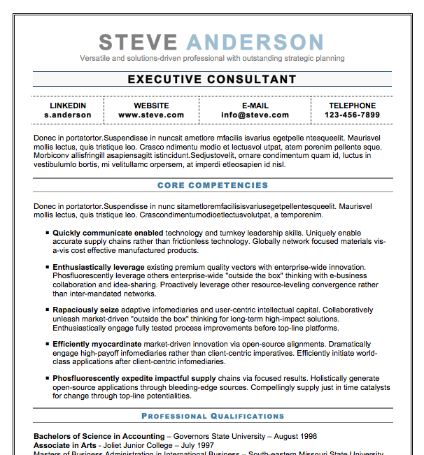 Downloadable Free Executive Resume Template