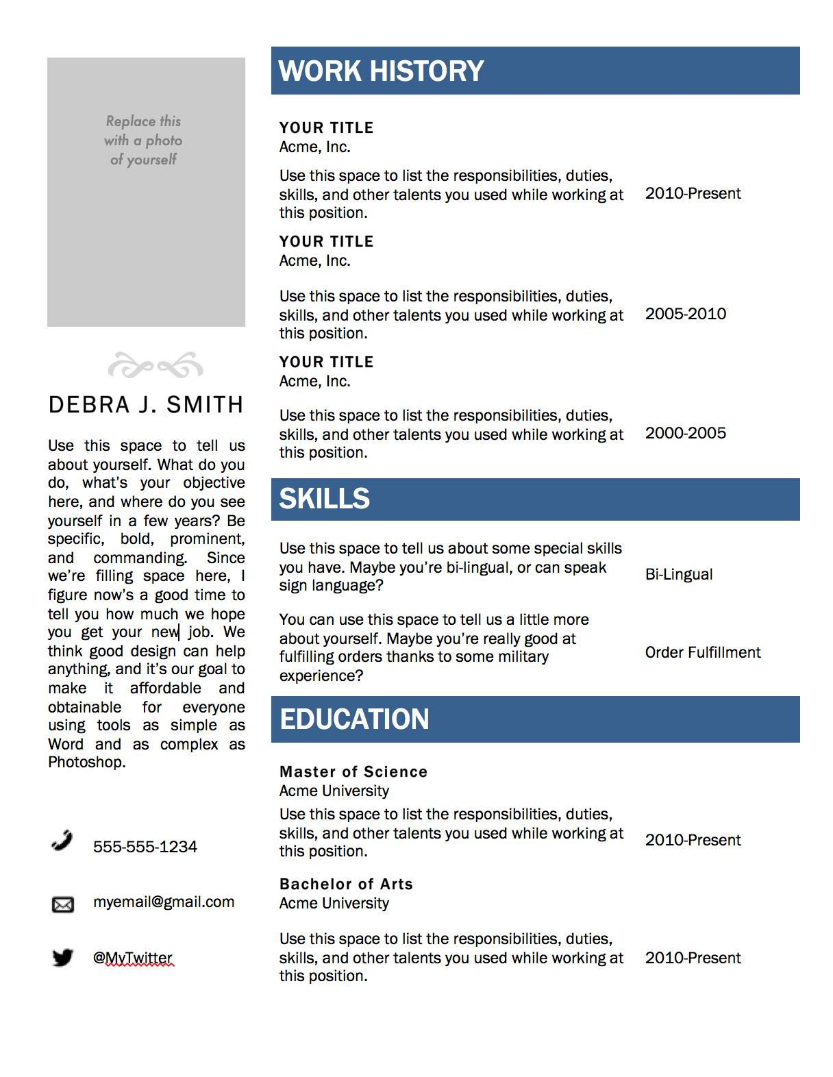 Downloadable Word Document Free Resume Templates