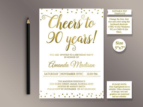 Editable 90th Birthday Invitation Template