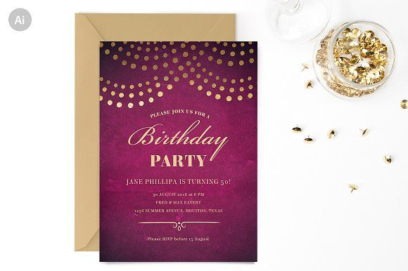 Elegant 50th Birthday Invite Template