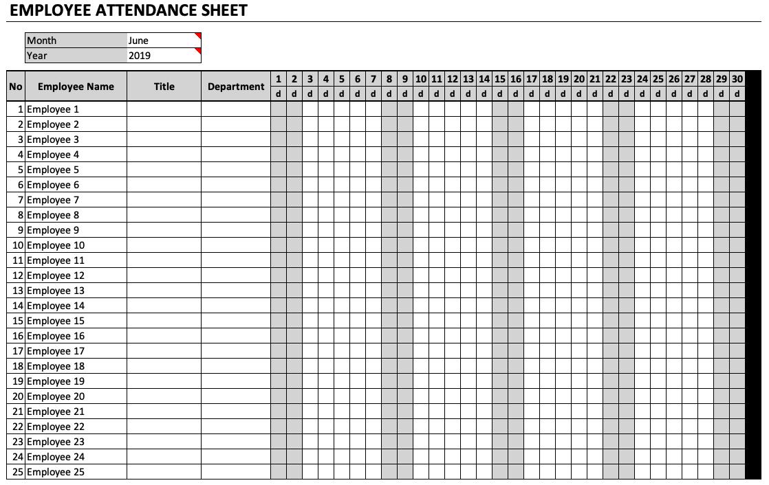 Employee Attendance Sheet Template