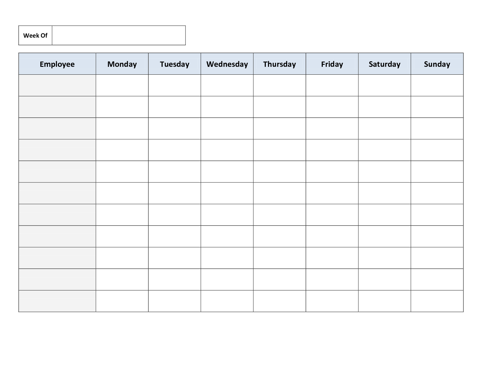 Employee Printable Weekly Work Schedule Template