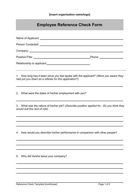 Employee Reference Check Template