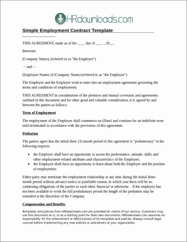 Employee Simple Employment Contract Template Free
