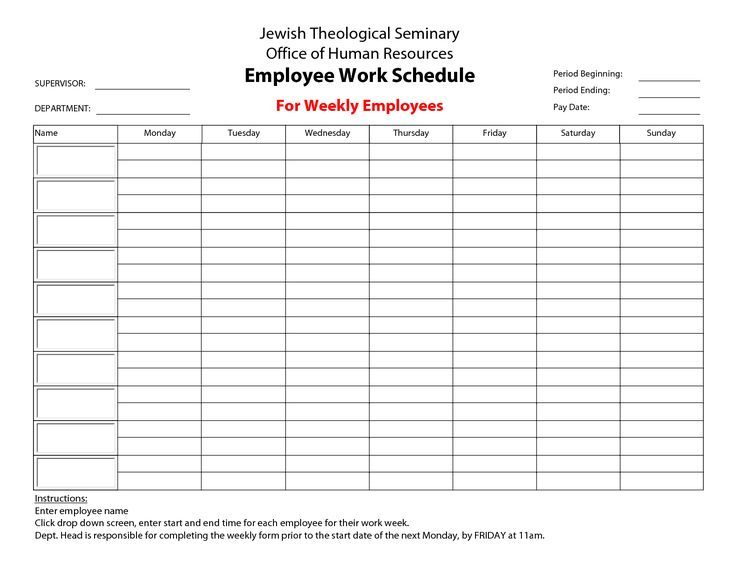 Employee Work Schedule Calendar Template