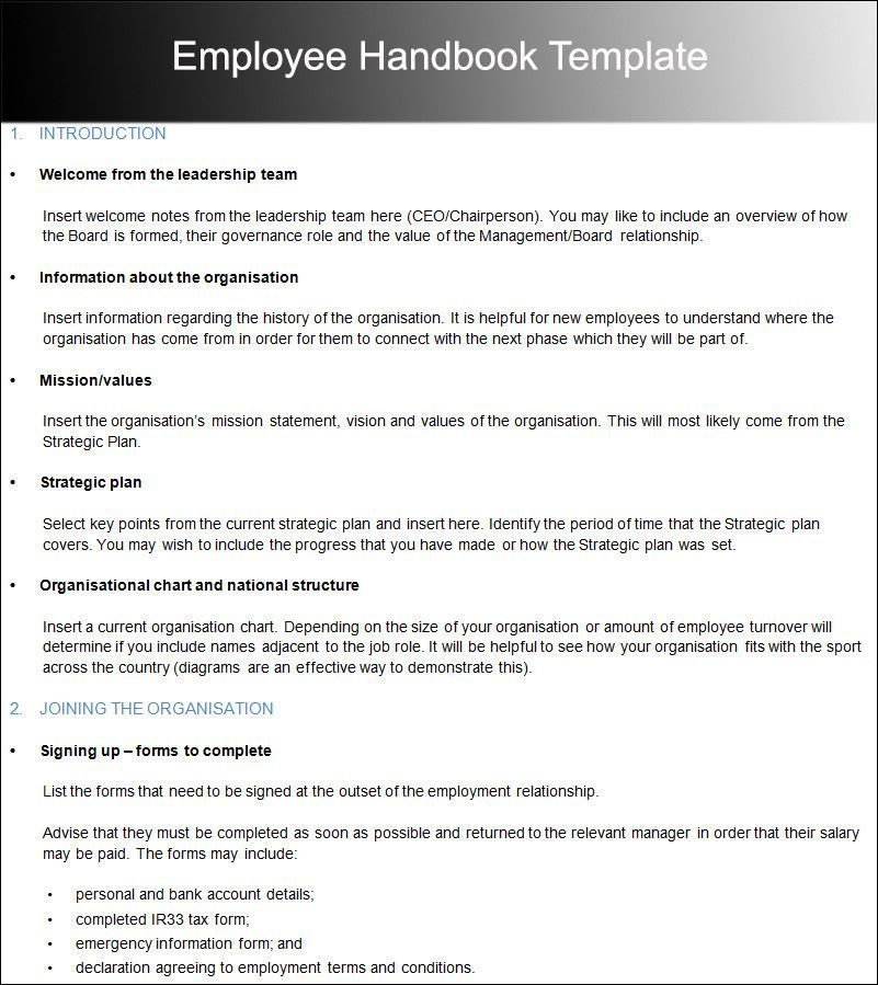 Employees Handbook Template
