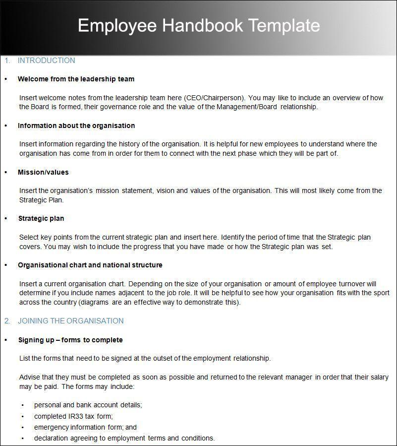 Employees Handbook Template