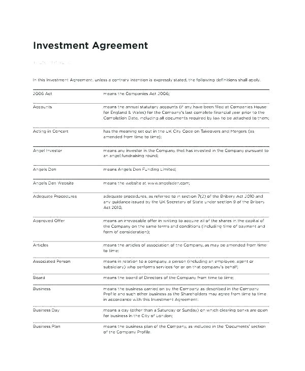 Equity Investment Agreement Template India