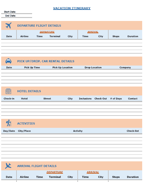 Excel Vacation Itinerary Template