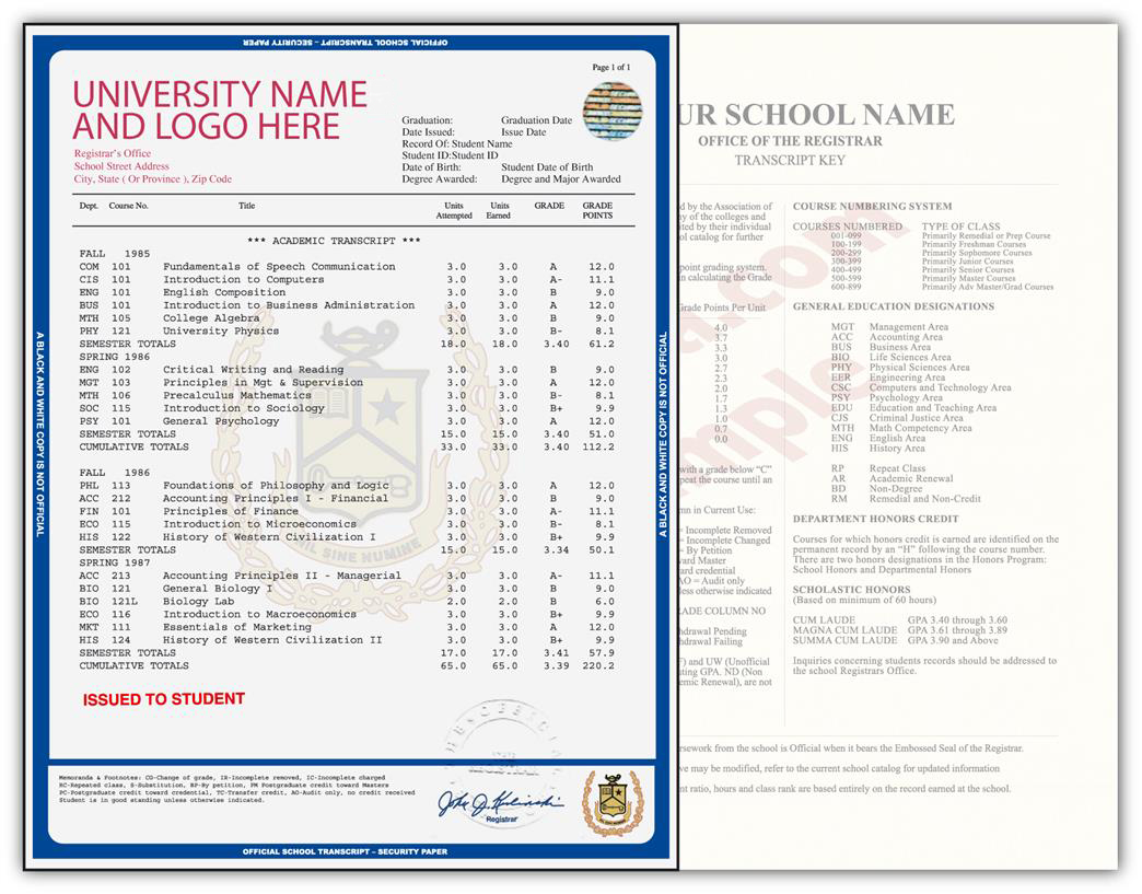 Fake College Transcript Template