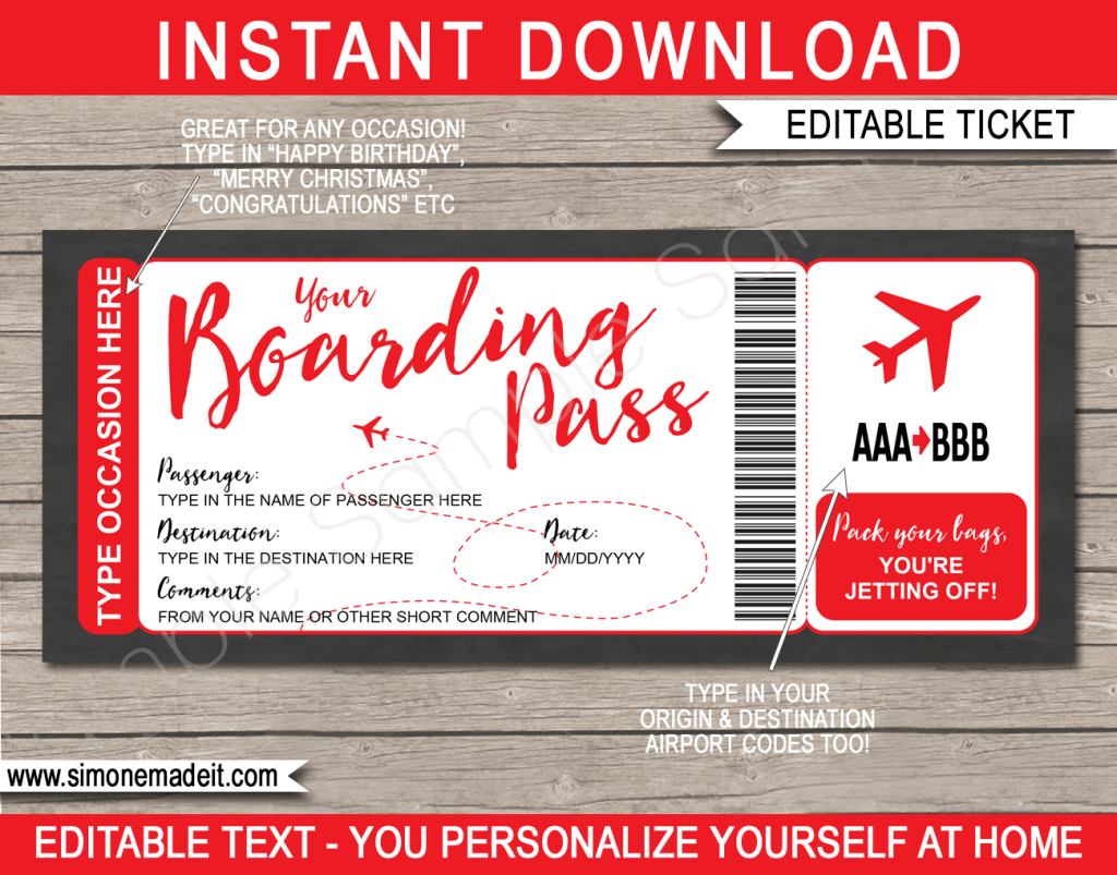 Fake Plane Ticket Template Printable