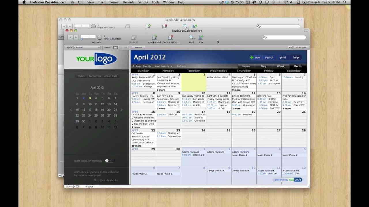 Filemaker Calendar Template Free