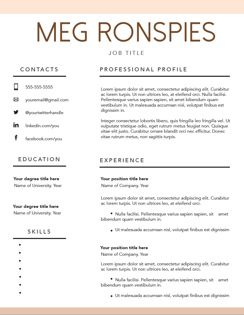 Fillable Resume Templates