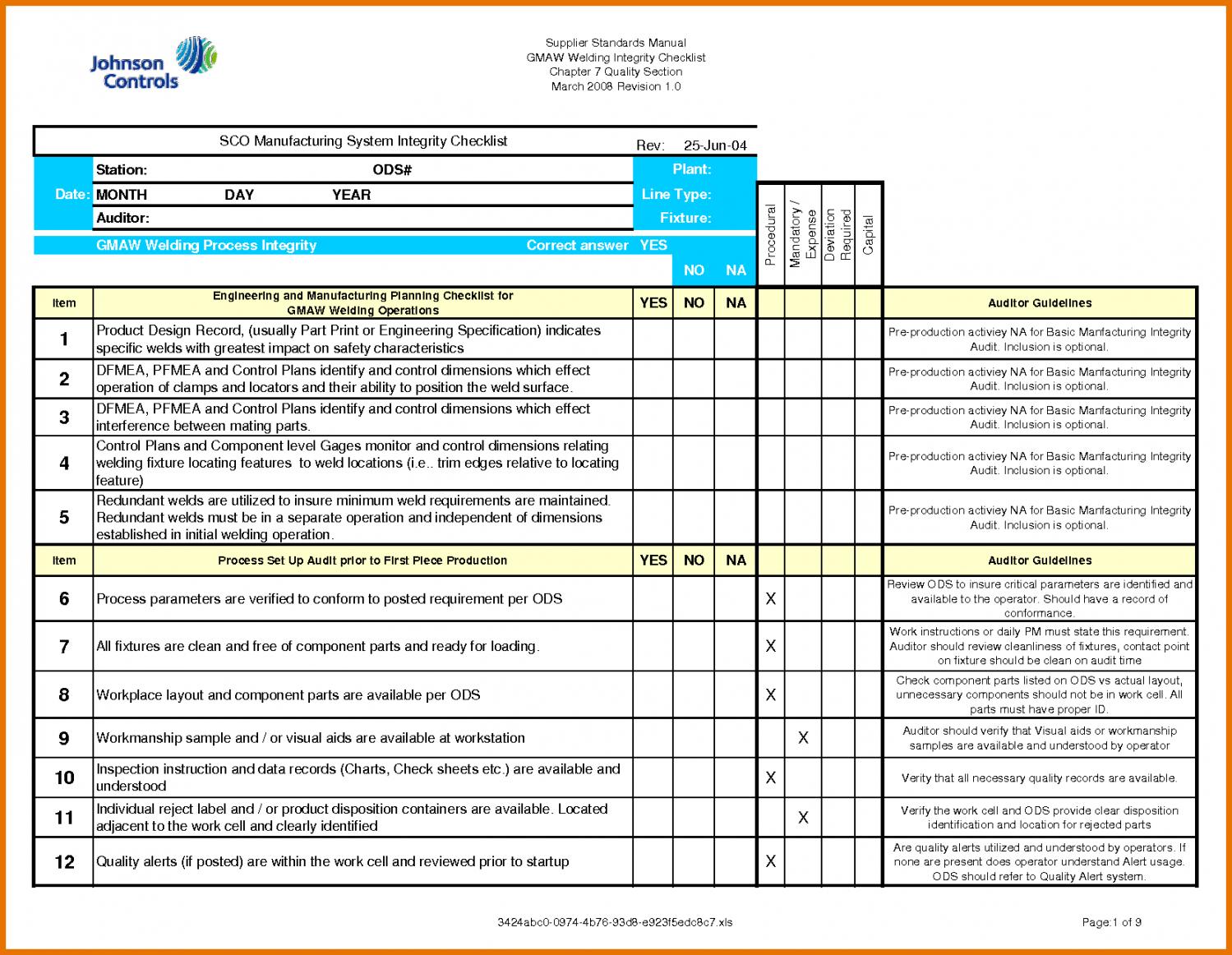 Printable Audit Checklist Template Internal Mat Hr Excel Financial Qms Sample Internal Financial Audit Checklist Template