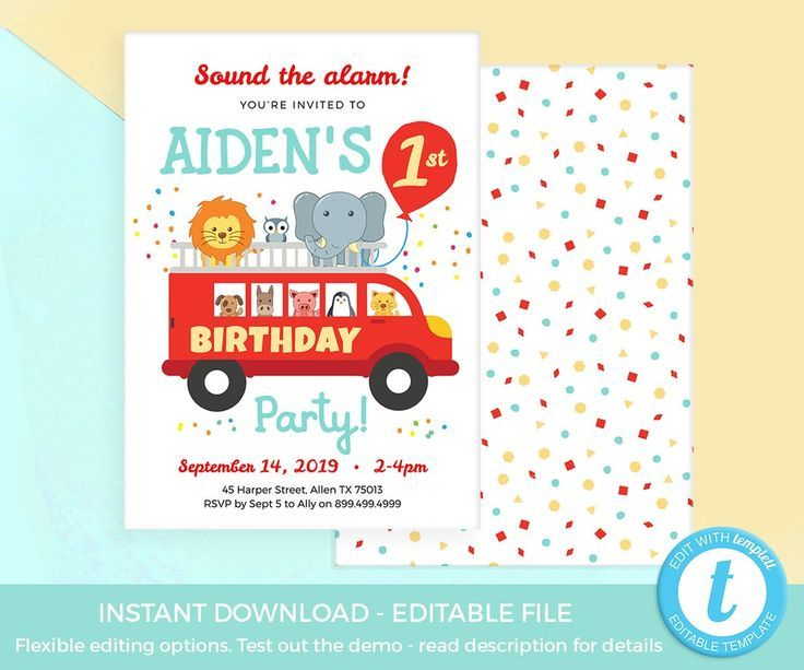 Fire Truck Party Invitation Template