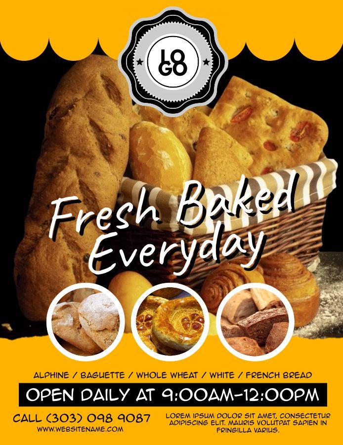 Flyer Design Bakery Advertisement Template