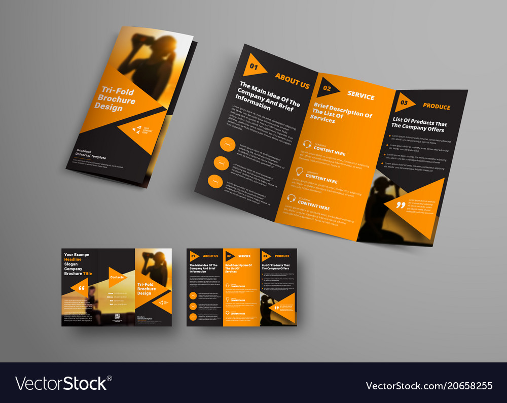 Black Triple Folding Brochure Template With Orange Triangular El