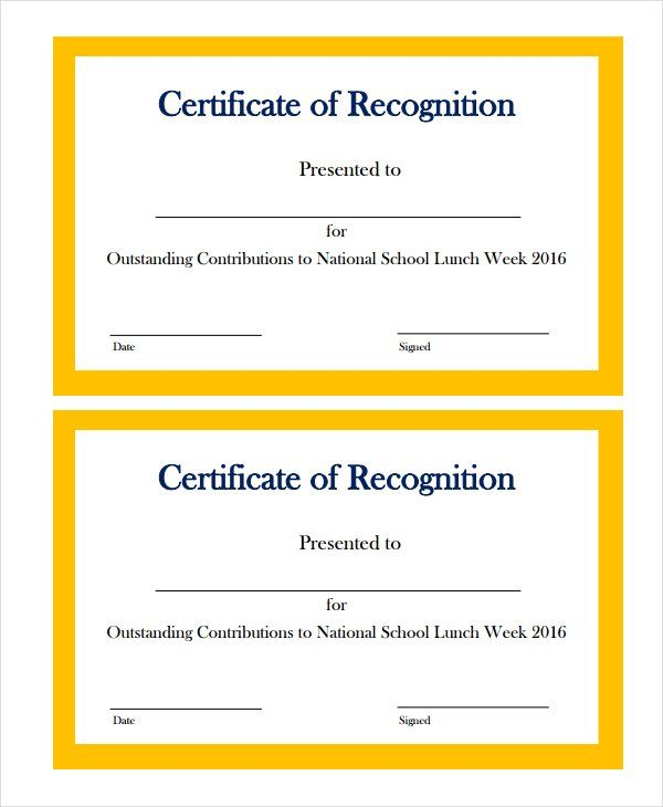Free Certificate Of Recognition Templates
