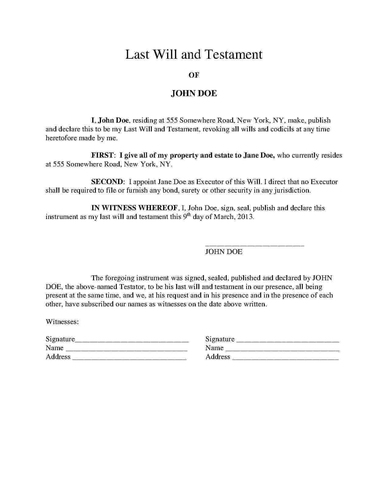 Free Download Last Will And Testament Template
