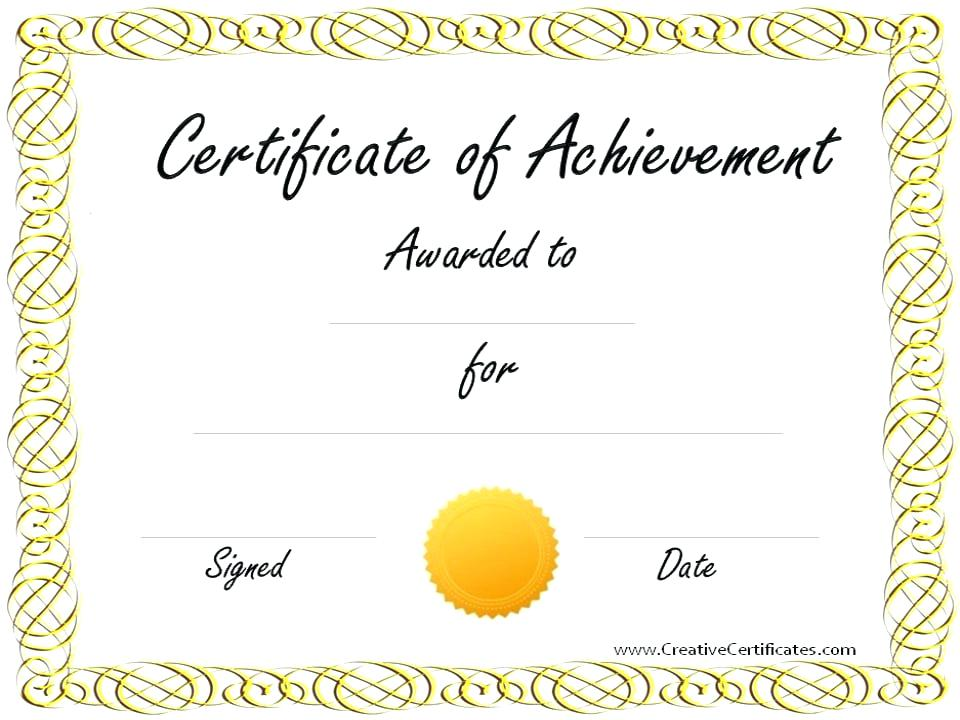 Free Downloadable Certificates Of Achievement Templates