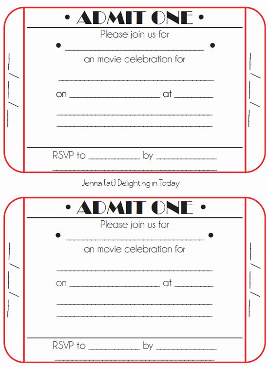 Free Movie Ticket Birthday Invitation Template
