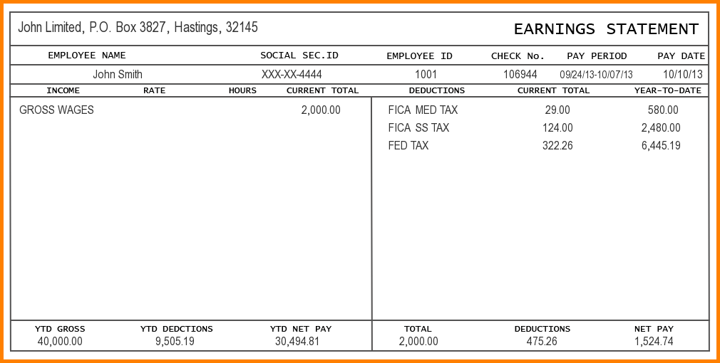 Free Payroll Check Stub Template Download