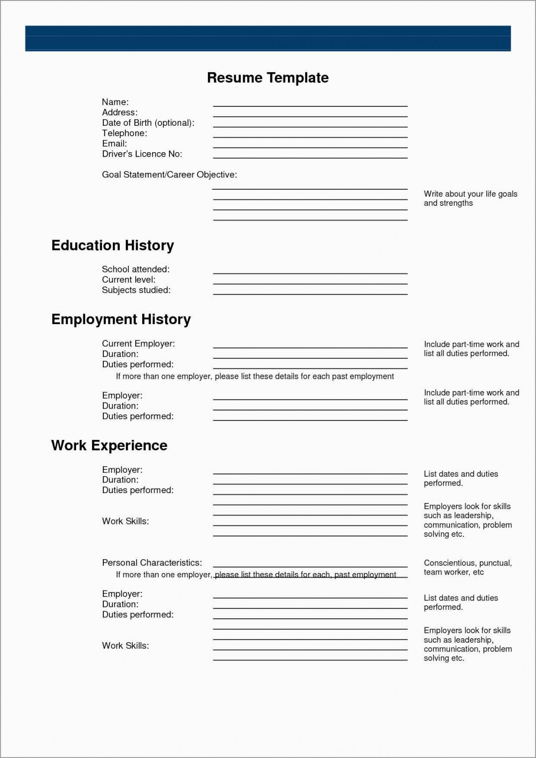 Free Resume Templates To Print Out