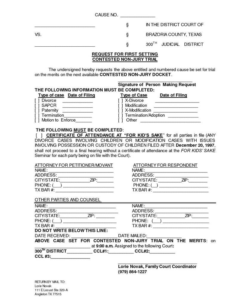 Free Printable Guardianship Forms Texas Lovely Texas Divorce Decree Template Personalinjurylovete