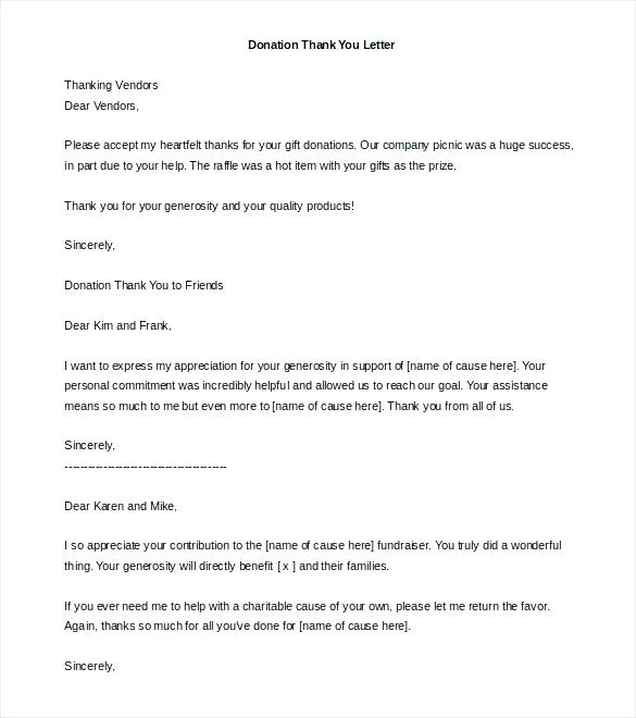 Fundraising Thank You Letter Template For Donation
