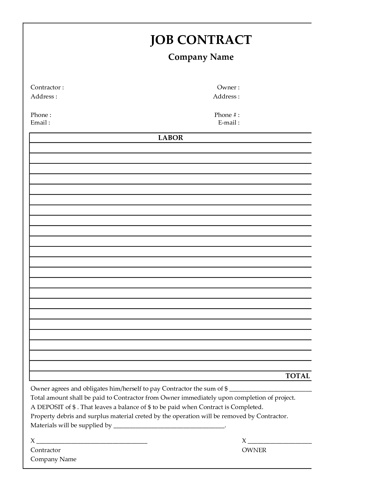 General Contractor Simple Construction Contract Template